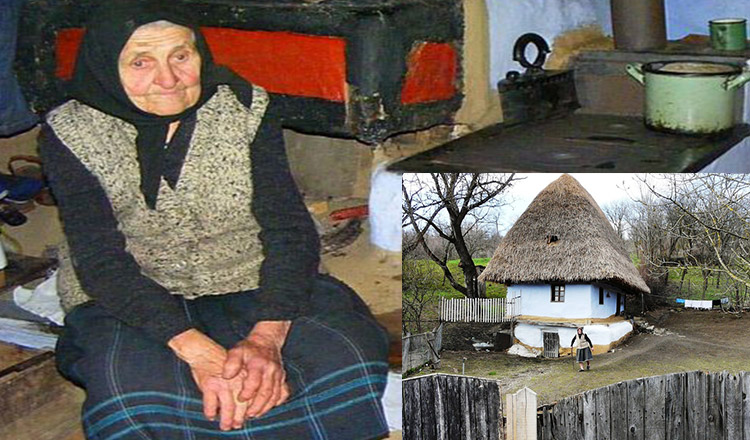 Tanti Iulica și căsuța ei, parcă ruptă de la Muzeul Satului. Are peste 150 de ani!